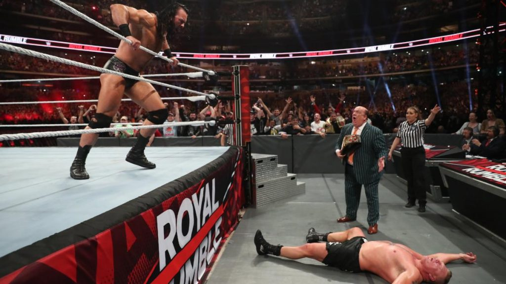 Drew McIntyre Eliminates Brock Lesnar 2020 WWE Royal Rumble