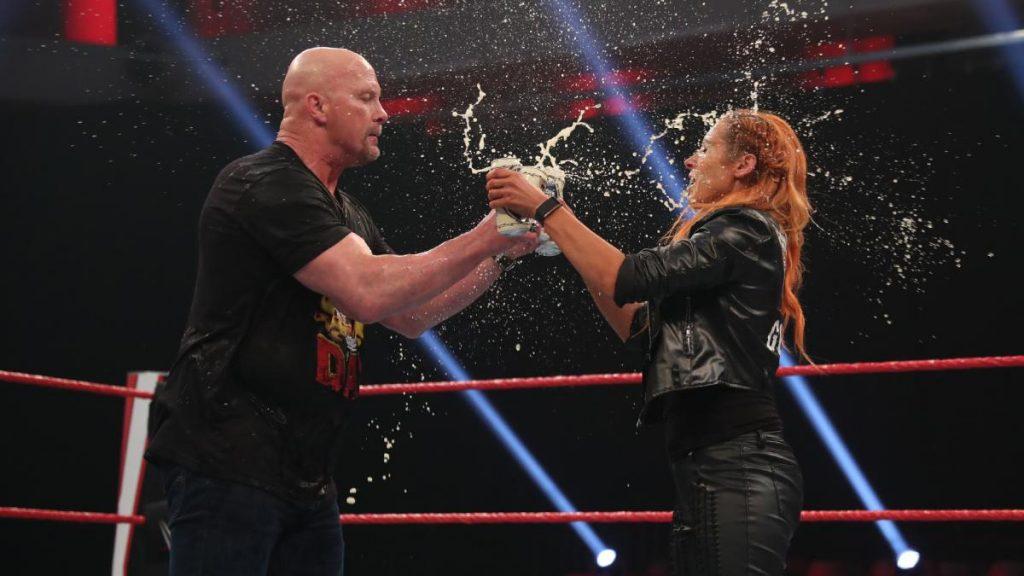 Becky Lynch and Stone Cold Steve Austin toast