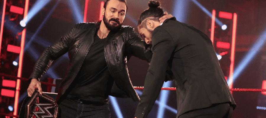 Drew McIntyre grabs Seth Rollins