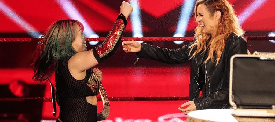 Asuka and Becky Lynch celebrate Lynch's pregnancy