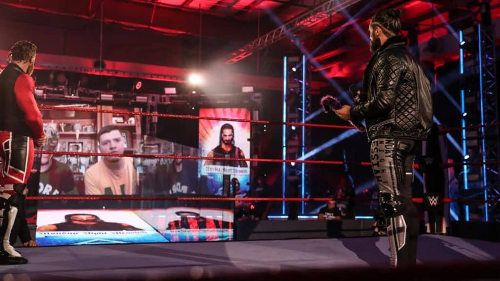 Rey and Dominik Mysterio appear via video link