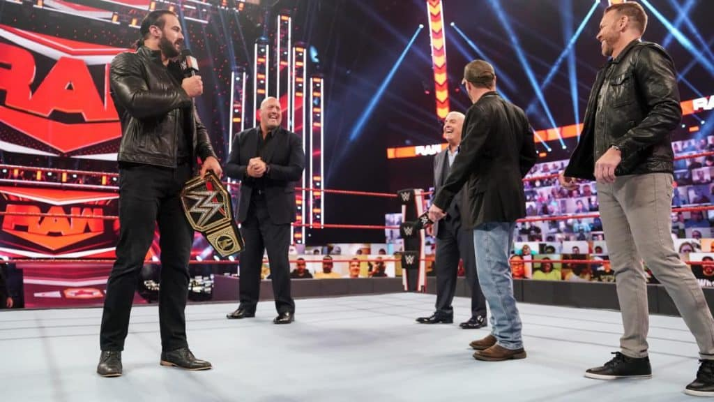 Drew McIntyre banters with Shawn Michaels, Big Show, Ric Flair, and Christian