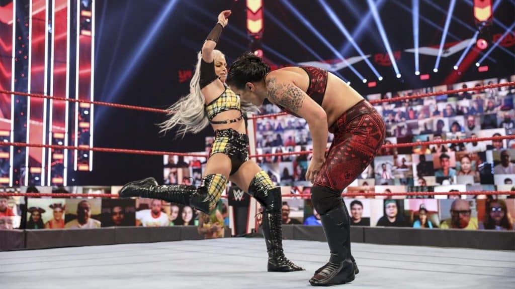 Liv Morgan kicks Shayna Baszler