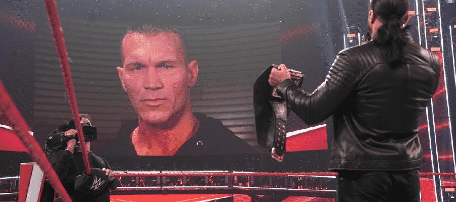 Drew McIntyre watching Randy Orton on the big screen