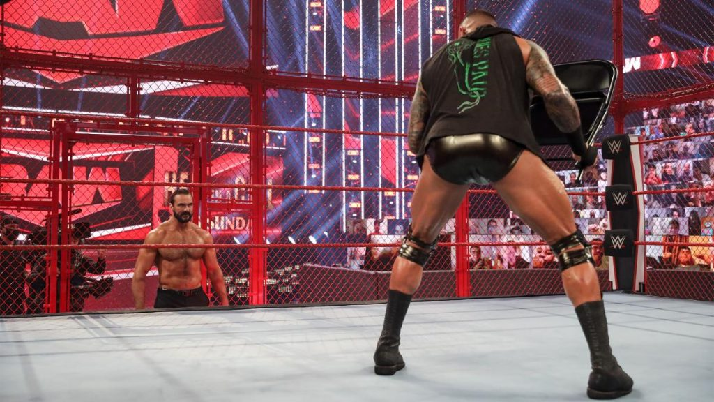 Randy Orton and Drew McIntyre stand off in the cell