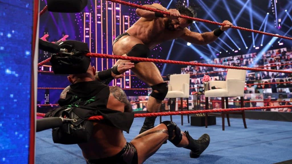 Drew McIntyre stamps on Randy Orton