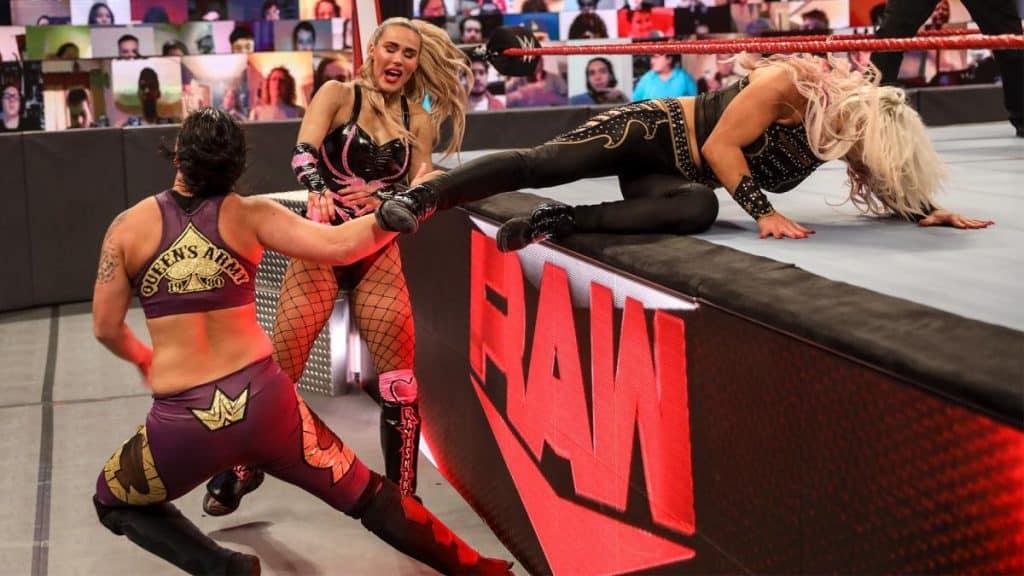 Dana Brooke Baseball slides into Shayna Baszler while Lana looks on