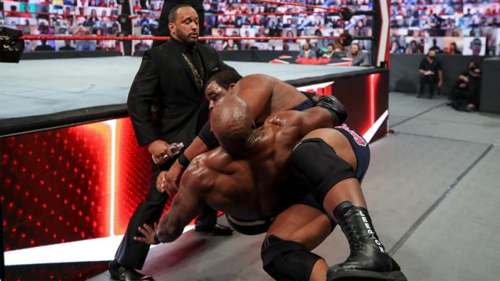 MVP gets a close up of Keith Lee crossbodying Bobby Lashley