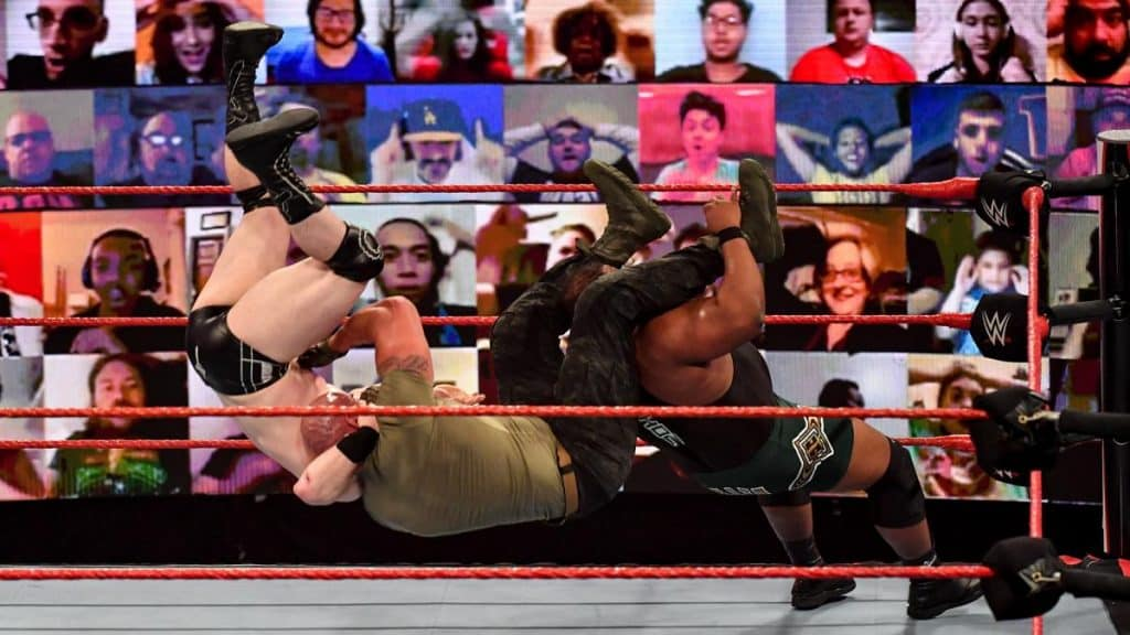 Sheamus, Braun Strowman, and Keith Lee Tower of Doom