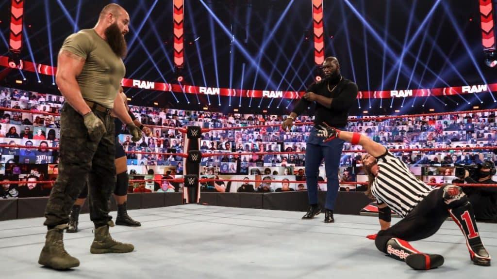 Braun Strowman, AJ Styles, Jordan Omogbehin