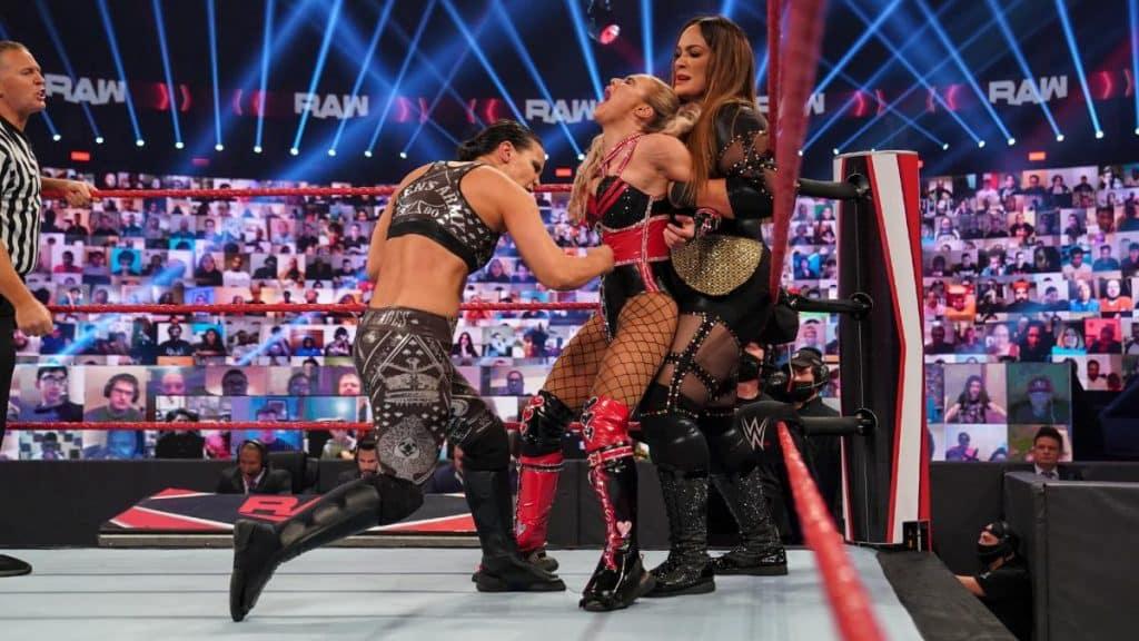 Shayna Baszler and Nia Jax isolate Lana in their corner