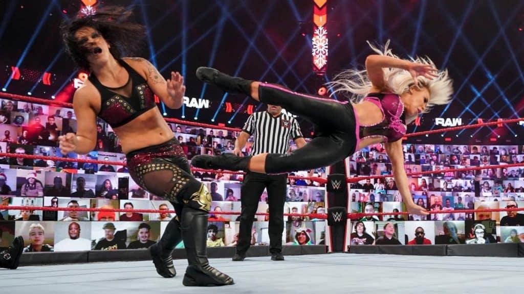 Dana Brooke dropkicks Shayna Baszler