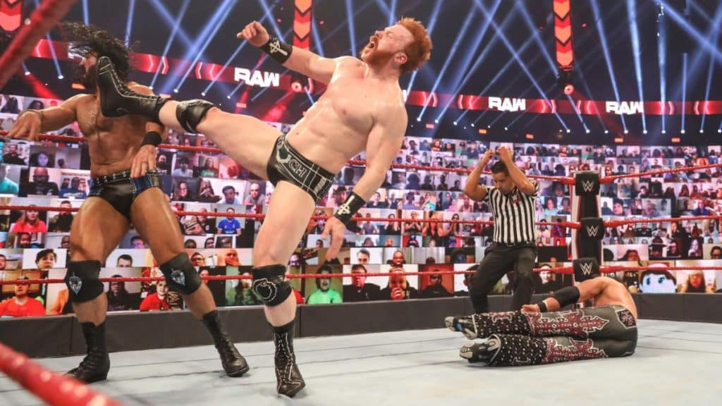 Sheamus accidentally Brogue Kicks Drew McIntyre