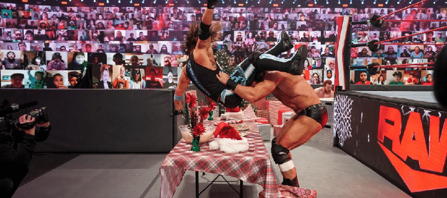 Drew McIntyre puts AJ Styles through the snack table