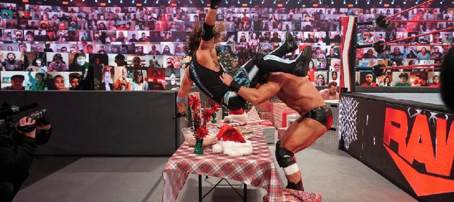 Drew McIntyre puts AJ Styles through the snack table