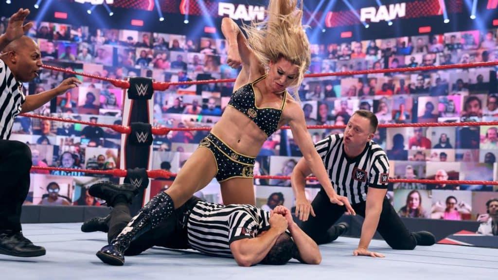 Charlotte Flair beats up a referee