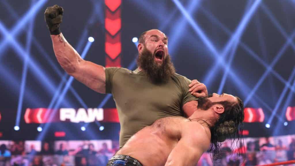 Braun Strowman readies himself to smack Drew McIntyre