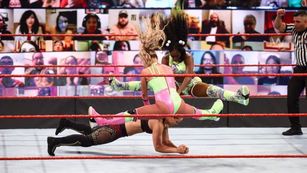 Naomi and Lana give Shayna Baszler a double facebuster