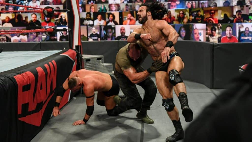 Drew McIntyre accidentally takes out Braun Strowman instead of T-BAR