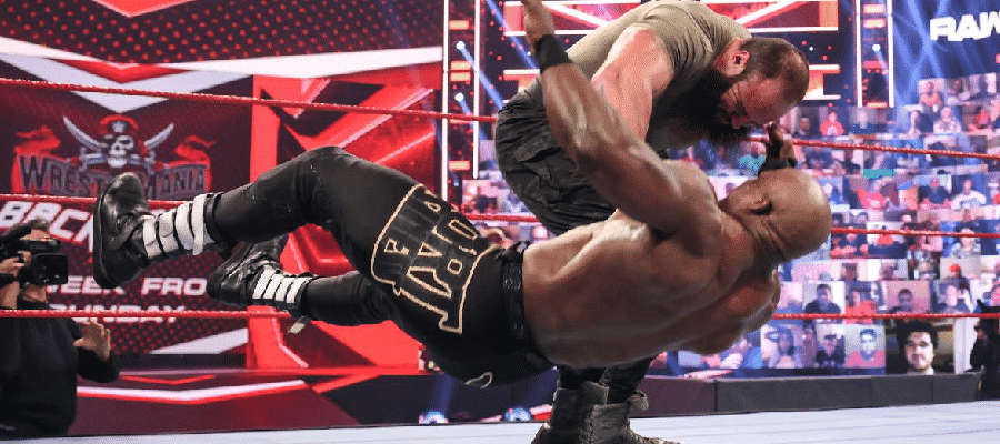 Braun Strowman knocks down Bobby Lashley