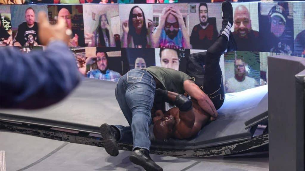 Braun Strowman puts Bobby Lashley through a barricade