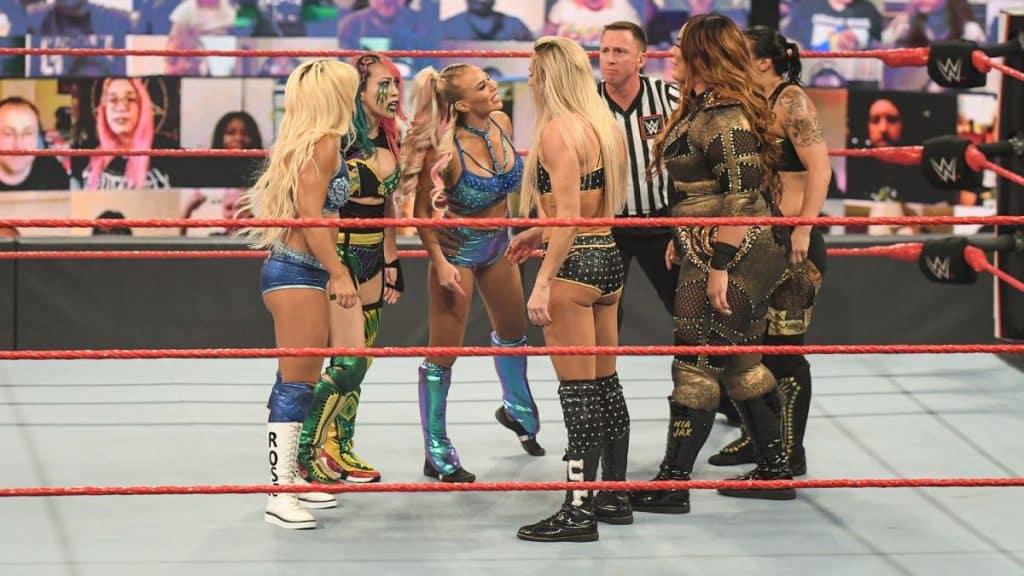 Asuka, Mandy Rose, and Dana Brooke face up to Charlotte Flair, Shayna Baszler, and Nia Jax