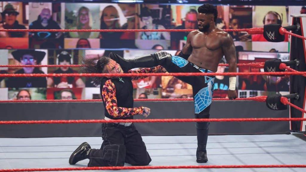 Cedric Alexander kicks Jeff Hardy in the head