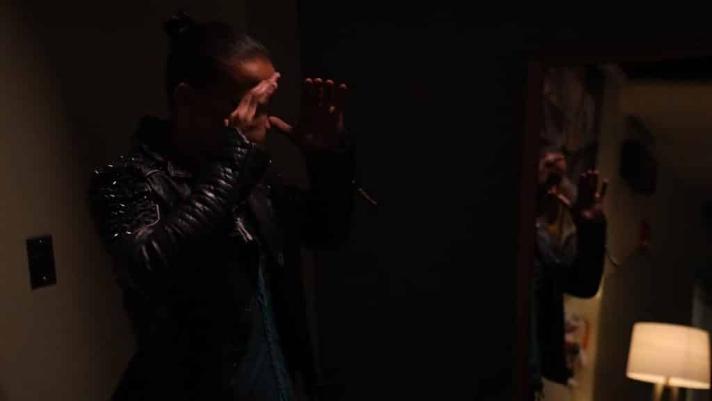 Shayna Baszler freaking out at Lilly in the mirror