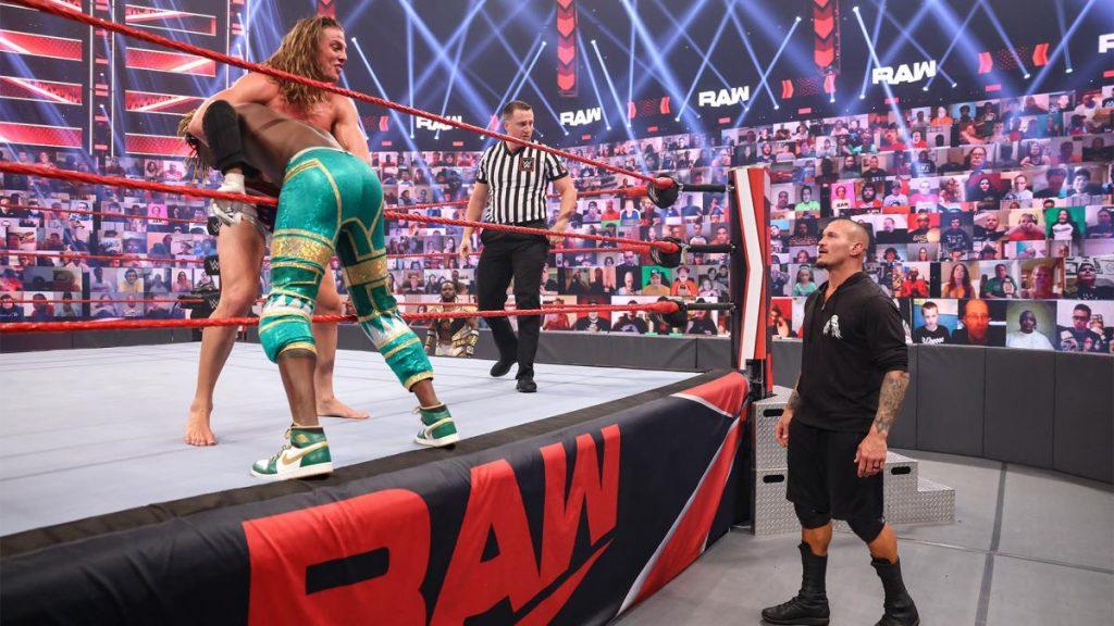 Riddle sets up Kofi Kingston for a draping DDT to impress Randy Orton