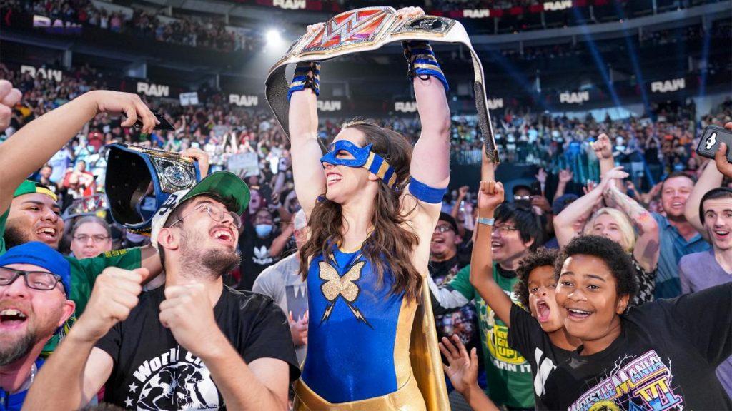 New RAW Women's Champion Nikki A.S.H. celebrates with the crowd.