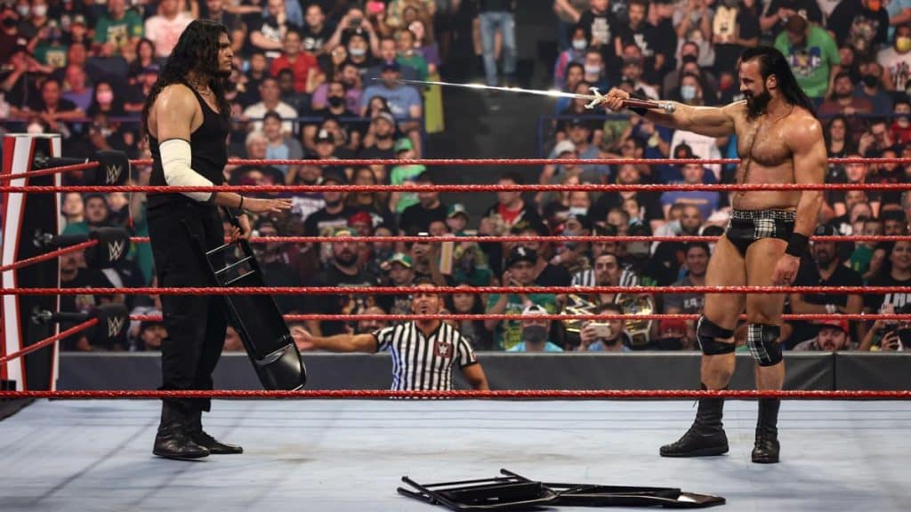 Drew McIntyre points his sword at Shanky (not a euphemism)