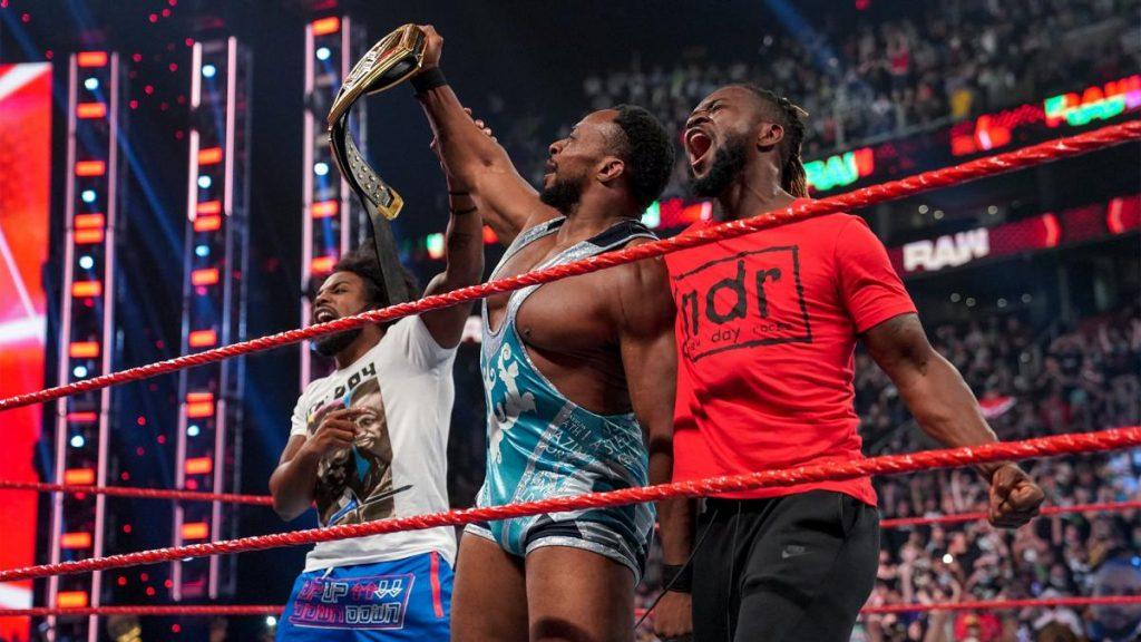 Big E celebrates his win with Kofi Kingston and Xavier Woods
