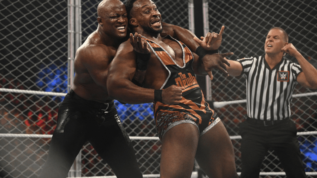 Bobby Lashley and Big E in the steel cage