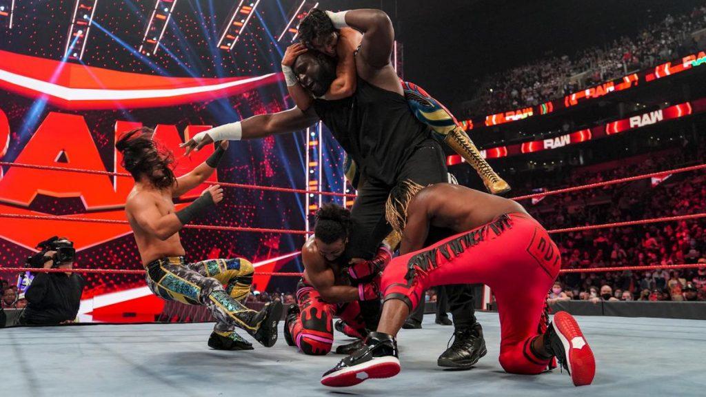 Omos throws off Mansoor, Kofi Kingston, and Xavier Woods
