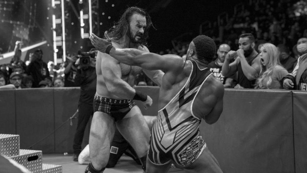 Drew McIntrye and Big E battle at ringside